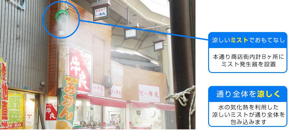 本通り商店街内計8ヶ所に ミスト発生器を設置